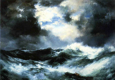 Moonlit Seascape Quiet night with waves moon canvas Oil painting Thomas Moran