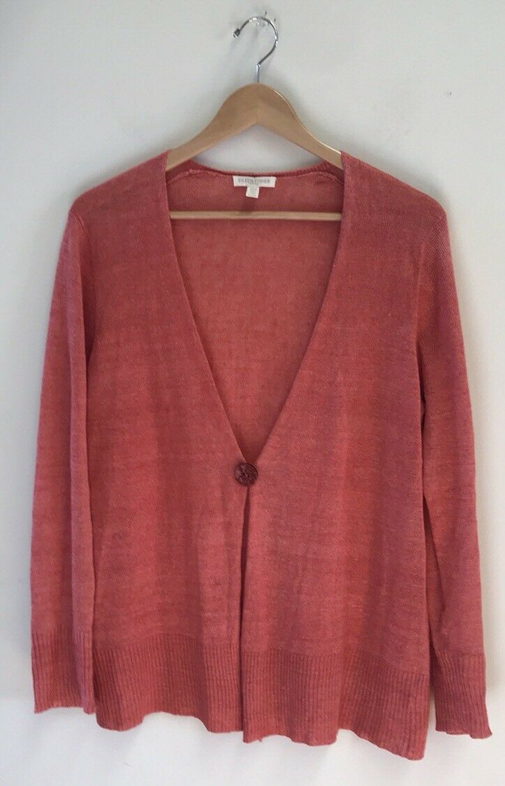 Eileen Fisher Women's One Button Cardigan Sweater Petite PL