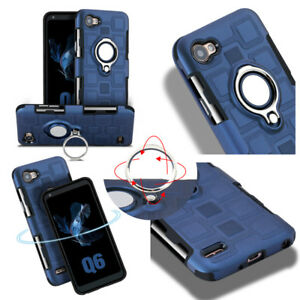 Details about For LG V30 Q6 Q8 Heavy Duty Shockproof Kickstand Ring Armor  Rugged Hybrid Cover