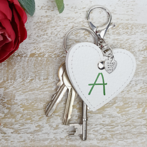 Personalised Keychain Name Keyring Leather Handmade Love Heart Any Initial Charm