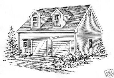 30 x 32-2 Car FG Garage Building Blueprint Plans Open Lft