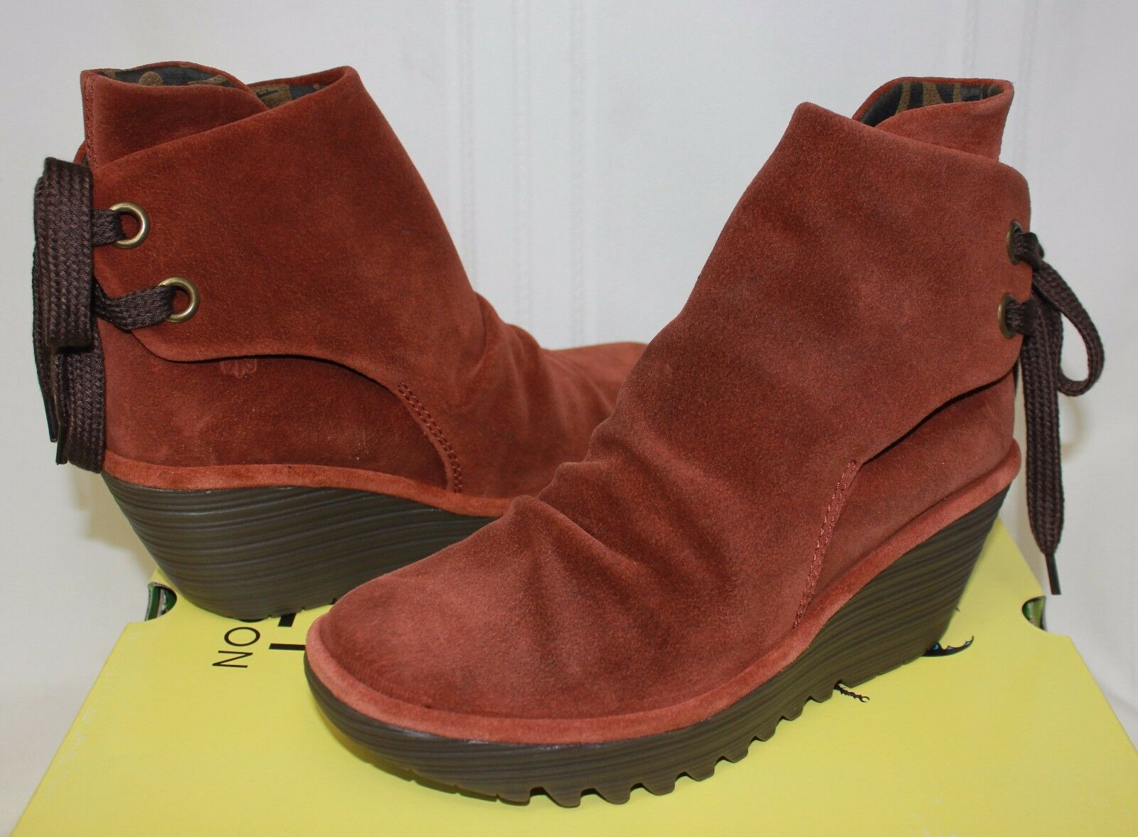 FLY LONDON Yama Wedges Brick Oil suede Boots New With Box!
