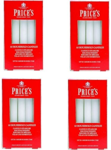 40 x Prices White Household Candles Decorative Christmas