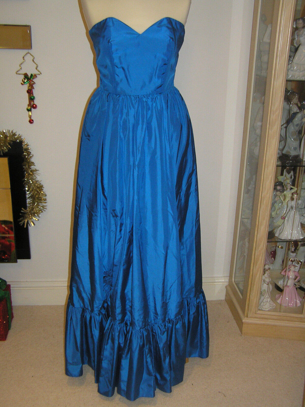 STUNNING EVENING DRESS BALL GOWN PETROL blueE MAXI LENGTH JOHN CHARLES SIZE 10