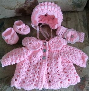 Hand Crochet Baby Cardigan Bonnet Shoes Headband Size Newborn Romany