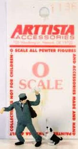 Arttista Miniature Postman/Mailman w/Dog #1136 -- 1:48 / O Scale / Quarter Scale