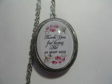 GLASS CAMEO LOCKET- ORCHID THANK YOU  FOR LOVING ME AS YOUR OWN    MOTHER IN LAW