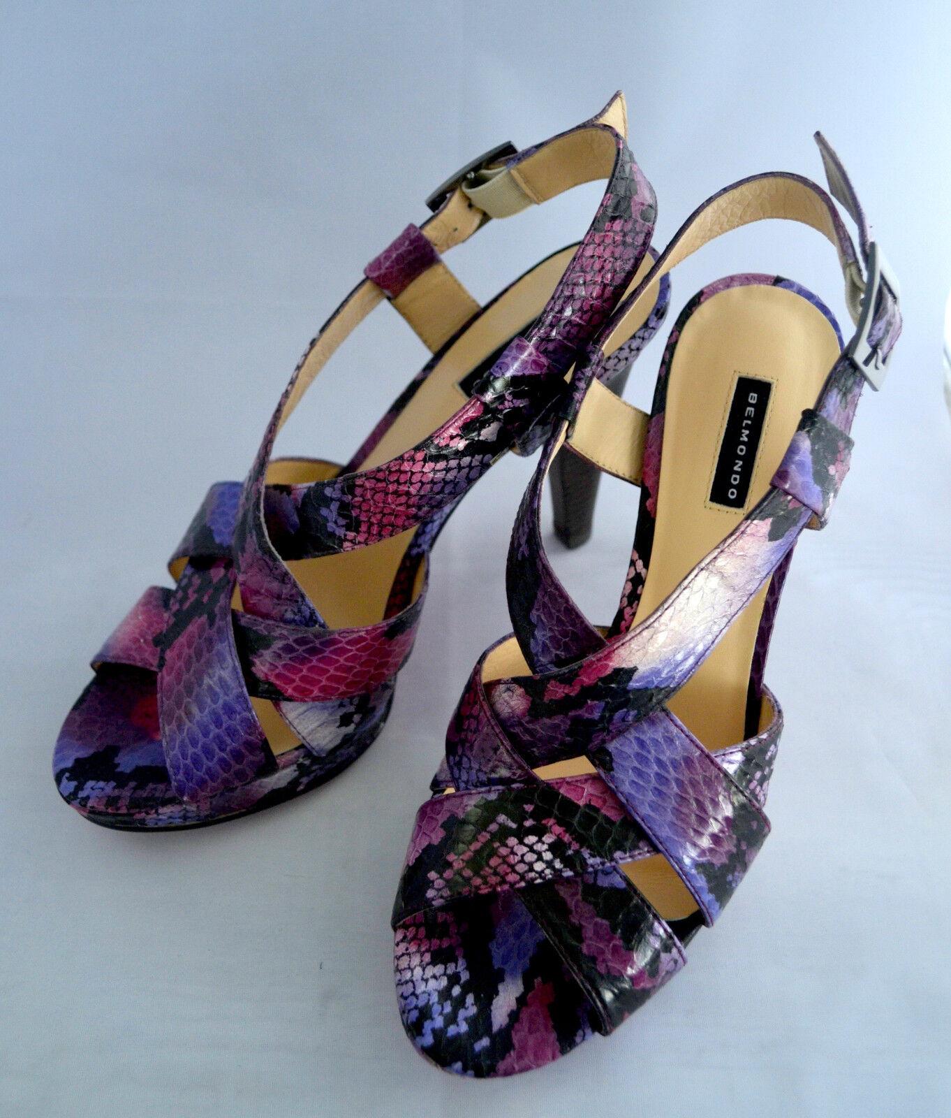 BELMONDO Damen Highheel-Sandaleetten Leder Rosa Pink Blau Gr.40