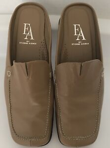 301ff6b5897 EA by Etienne Aigner Tan Leather Slip On Backless Loafers Shoes ...
