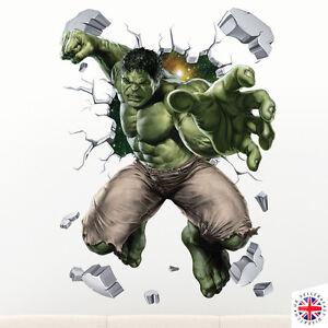 3d Hulk Wall Sticker Vinyl Art Home Bedroom Marvel Poster