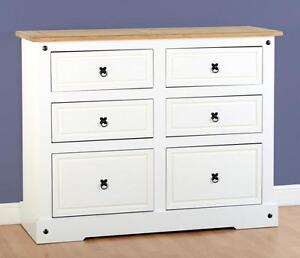 Corona-Pine-White-6-Drawer-Chest-Storage-Cabinet-Mexican-Home-Bedroom-Furniture