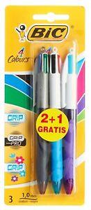 BIC-4-Multi-Colour-Grip-Pro-Fashion-Fun-Ball-Point-Pen-3-Pack
