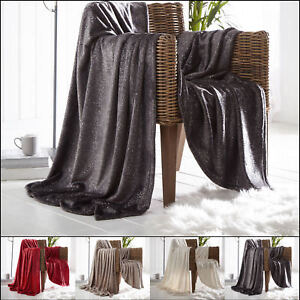 Details About Sparkle Glossy Shiny Luxury Throws Super Soft Warm Cosy Sofa Bed Fleece Blankets