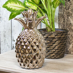 Chrome glazed pineapple fruit modern ornament decorative for Contemporary ornaments for the home
