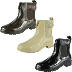 Womens-Ladies-Wellington-Boots-Winter-Rain-Flat-Chelsea-Ankle-Wellies-Shoes-Size