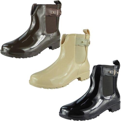 Womens Wellington Winter Rain Boots Ladies Ankle Flat Wellies Chelsea Shoes Size
