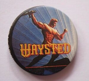 Waysted-Old-Og-Vtg-1980-S-Boton-Pin-Insignia-25mm-Oficial-No-Patch-CD-LP-Shirt