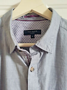 TED-BAKER-Shirt-Grey-with-Purple-Trim-Size-5-Chest-42-034-Collar-16-5-034-Sleeve-Tabs
