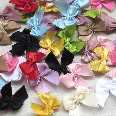 60pcs Mini Satin Ribbon Flowers Bows Gift Craft Wedding Decoration Lots color