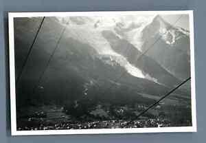 France-Chamonix-La-ville-vue-en-teleferique-du-Brevent-Vintage-silver-print