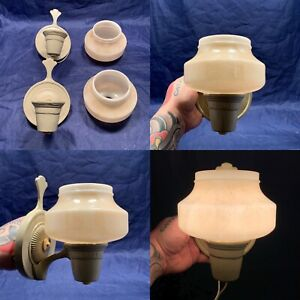 Antique Wired Pair Art Deco Slip Shade Sconces Rewired Set Of Two 98C