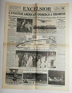 N742-La-Une-Du-Journal-Excelsior-22-novembre-1927-l-039-aviateur-americain-Lindbergh