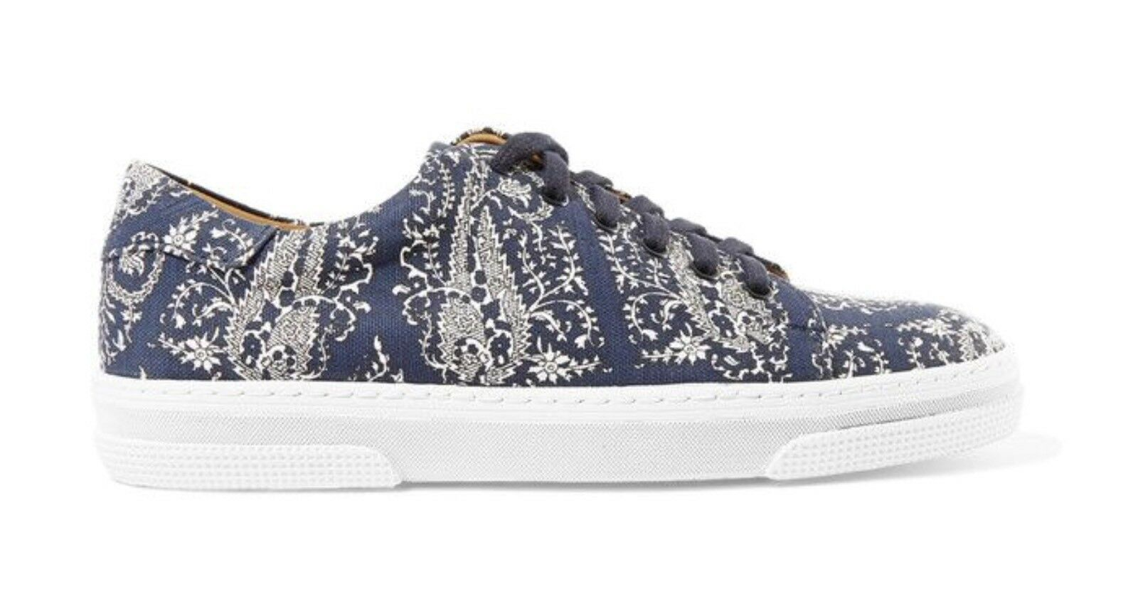 APC Designer Canvas Paisley Navy Print Sneakers Trainers Leather Lined S.38