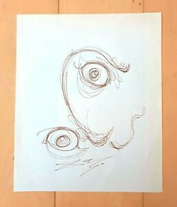"""SALVADOR DALI -EYE- AUTHENTIC 10.25"""" x 8.5"""" INK ON PAPER DRAWING"""
