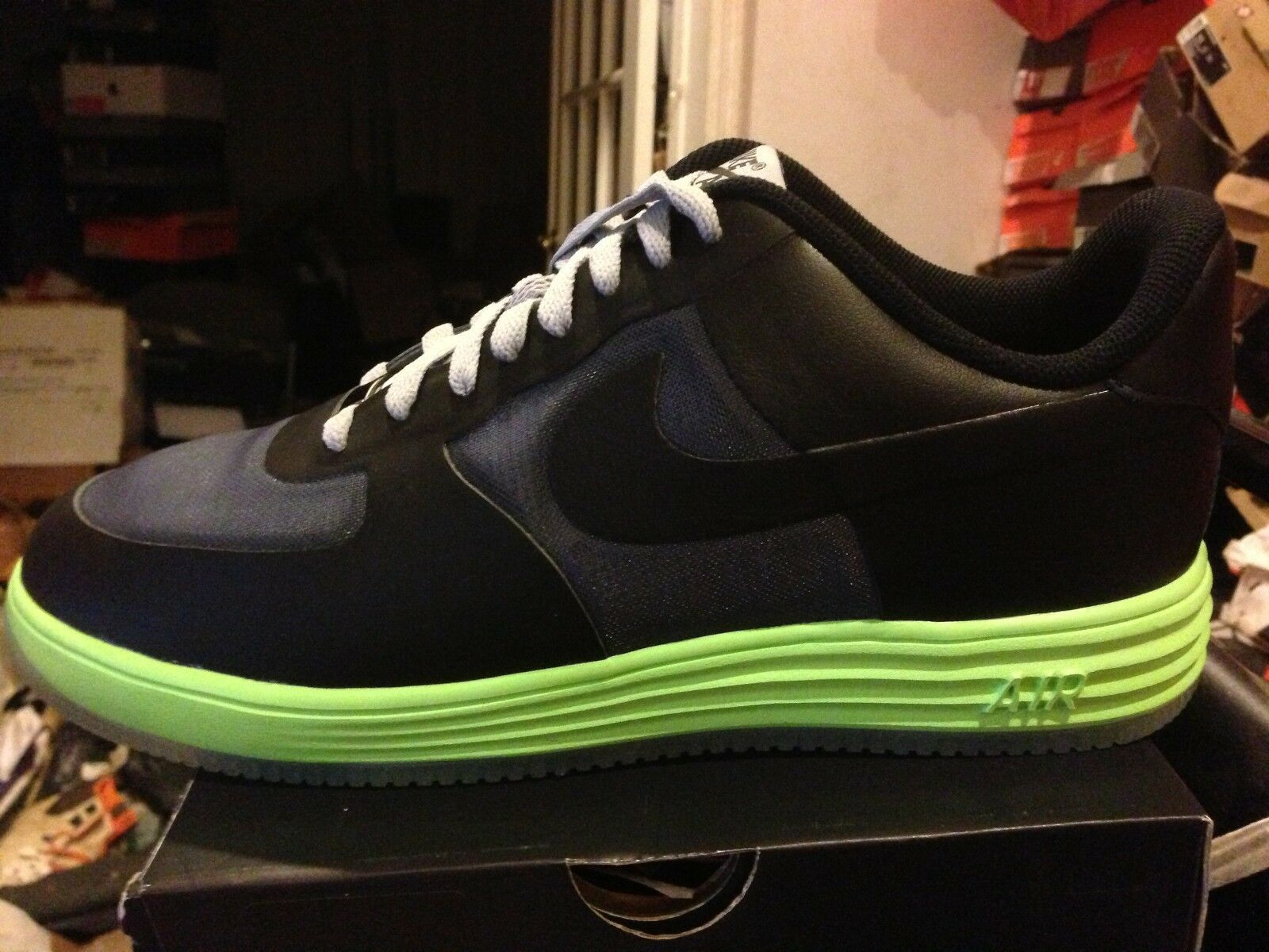 NIKE LUNAR FORCE 1 FUSE LEATHER GRAY/LIME BNIB SIZE 12