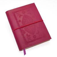 Fair Trade Handmade Medium Fuchsia Pink Embossed Leather Journal Notebook