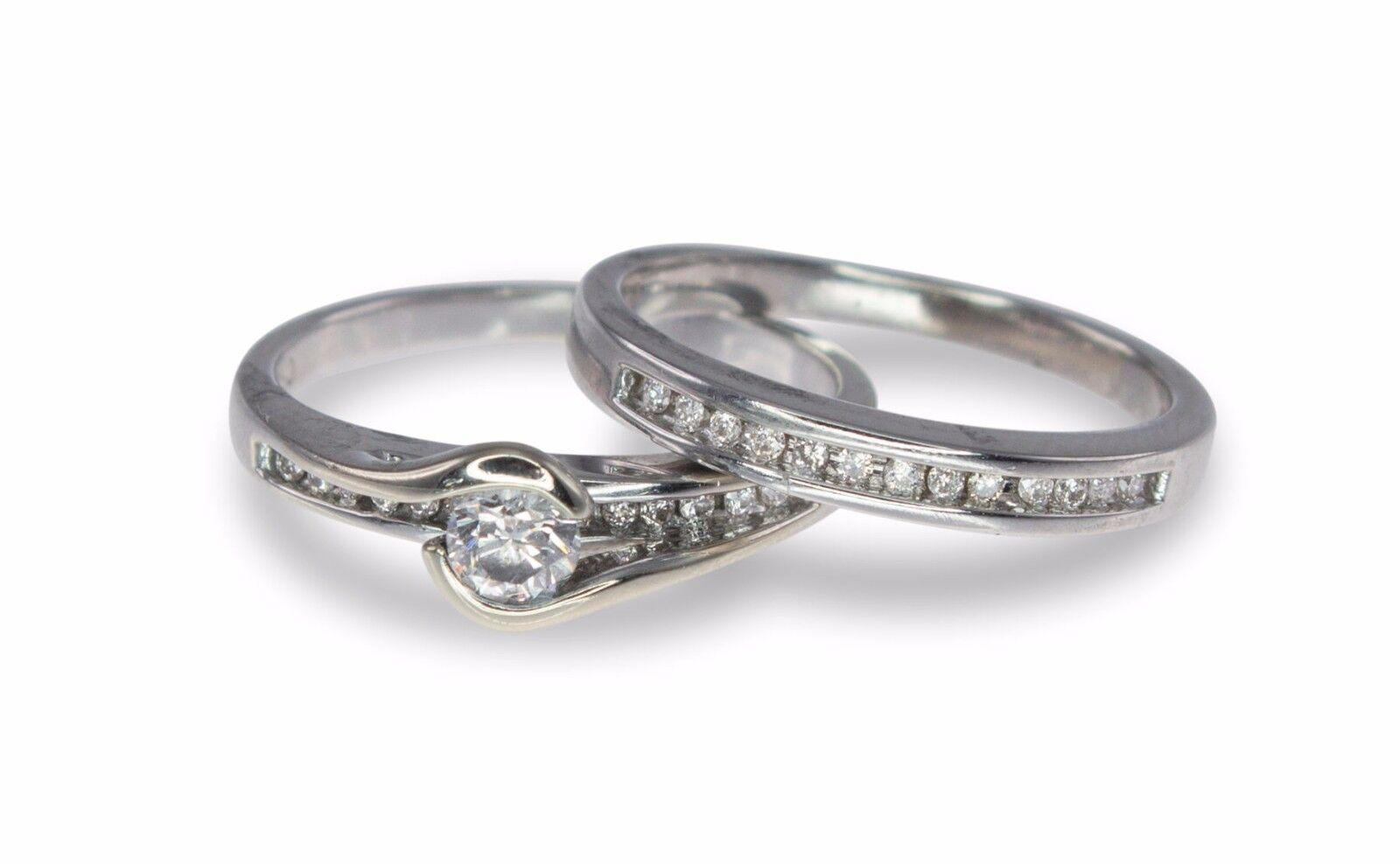 REDUCED 18k White gold .315ct Diamond Engagement Wedd. 2 Ring Bridal Set 595566
