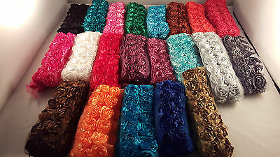 High quality double row 3d rose flower lace trim for designing crafting 1 metre