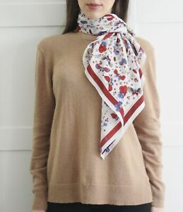 savingglory-VINTAGE-France-100-Silk-Classic-Square-Scarf-Butterfly-Garden-Wrap