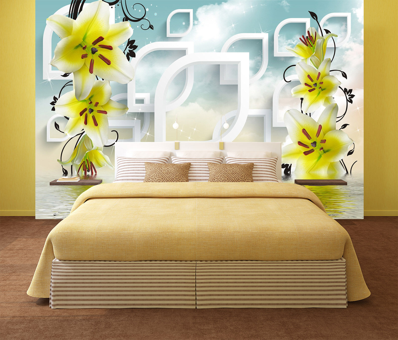 3D Farbeful flowers, water 3 Wall Paper Print Wall Decal Deco Indoor Wall Murals