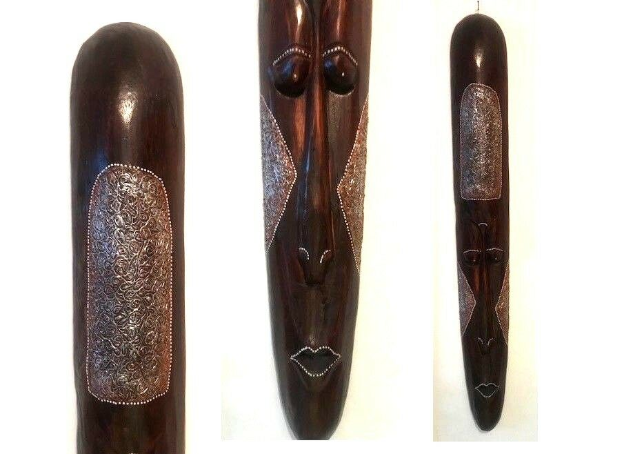 XXXL Wandbehang Balsa Holz Wand-Maske Ornamentiert 100 cm Extrem Leicht Vintage