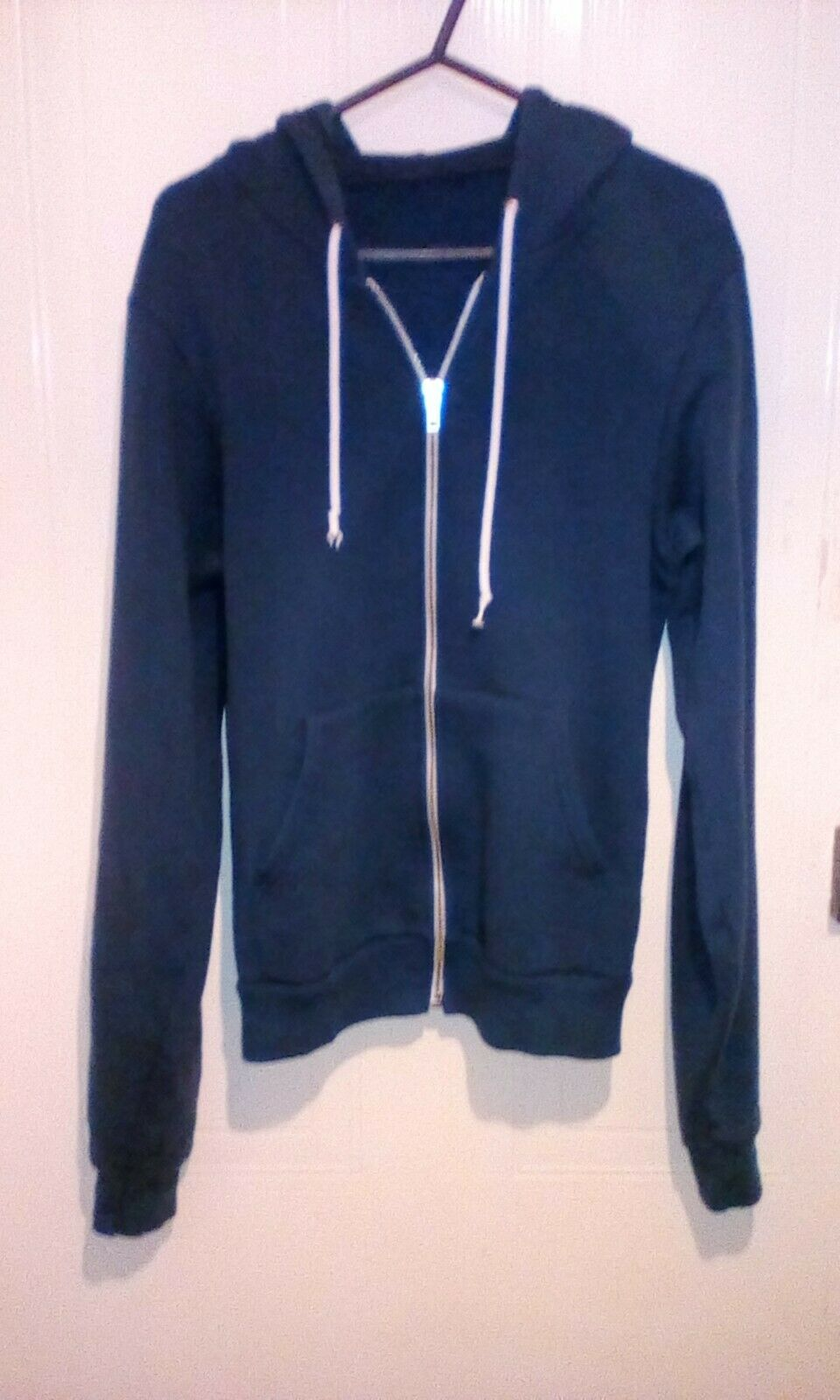 Mens xs american apparel Blue hoody front pockets chest 34 in
