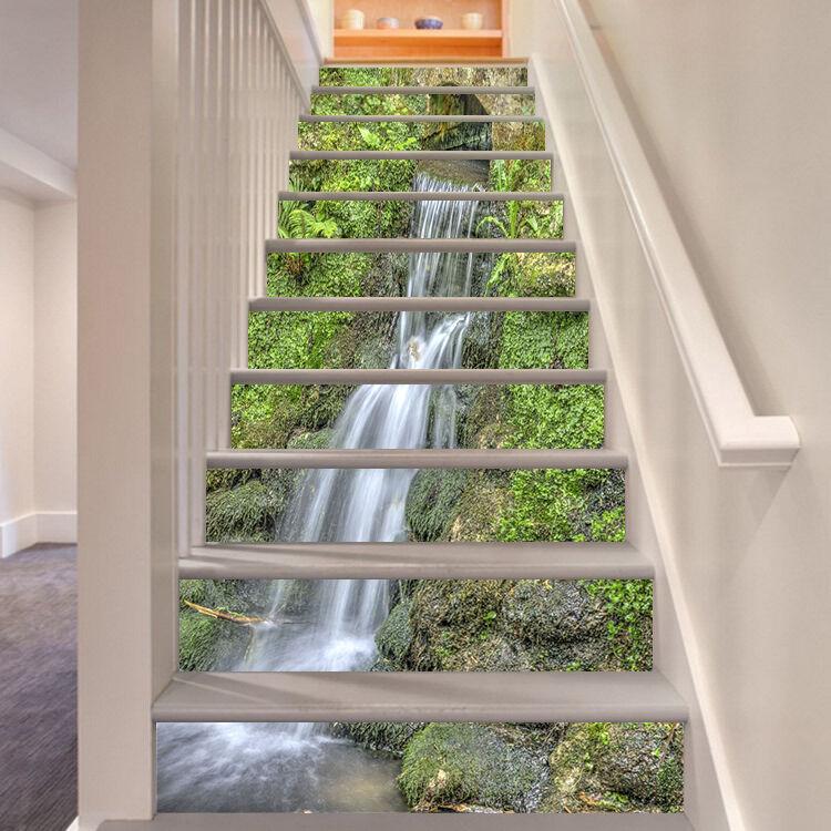 3D Leaf Cascade 55 Stair Risers Decoration Photo Mural Vinyl Decal Wallpaper UK