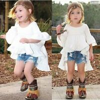 Toddler Baby Girl Kids Summer Clothes Short Sleeve Party Tops T-Shirt Dress 2-7Y