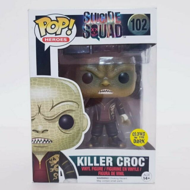 Suicide Squad Killer Croc #102 Glow In The Dark Funko Pop Vinyl + Pop Protector