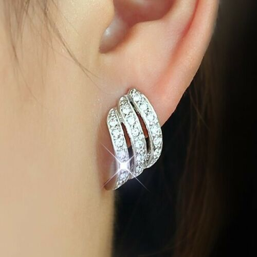 Created White Sapphire 18K yellow gold filled Brilliant Screwback Stud Earrings