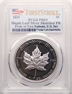 2019-5-Canadian-Silver-Maple-Leaf-Modified-Proof-PR69-FS-Pride-of-Two-Nations