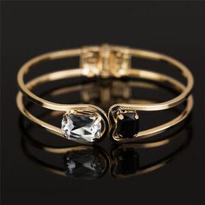 Gold-Plated-Crystal-Rhinestone-Bracelet-Women-Cuff-Bangle-Wristband-Jewelry-SRWG