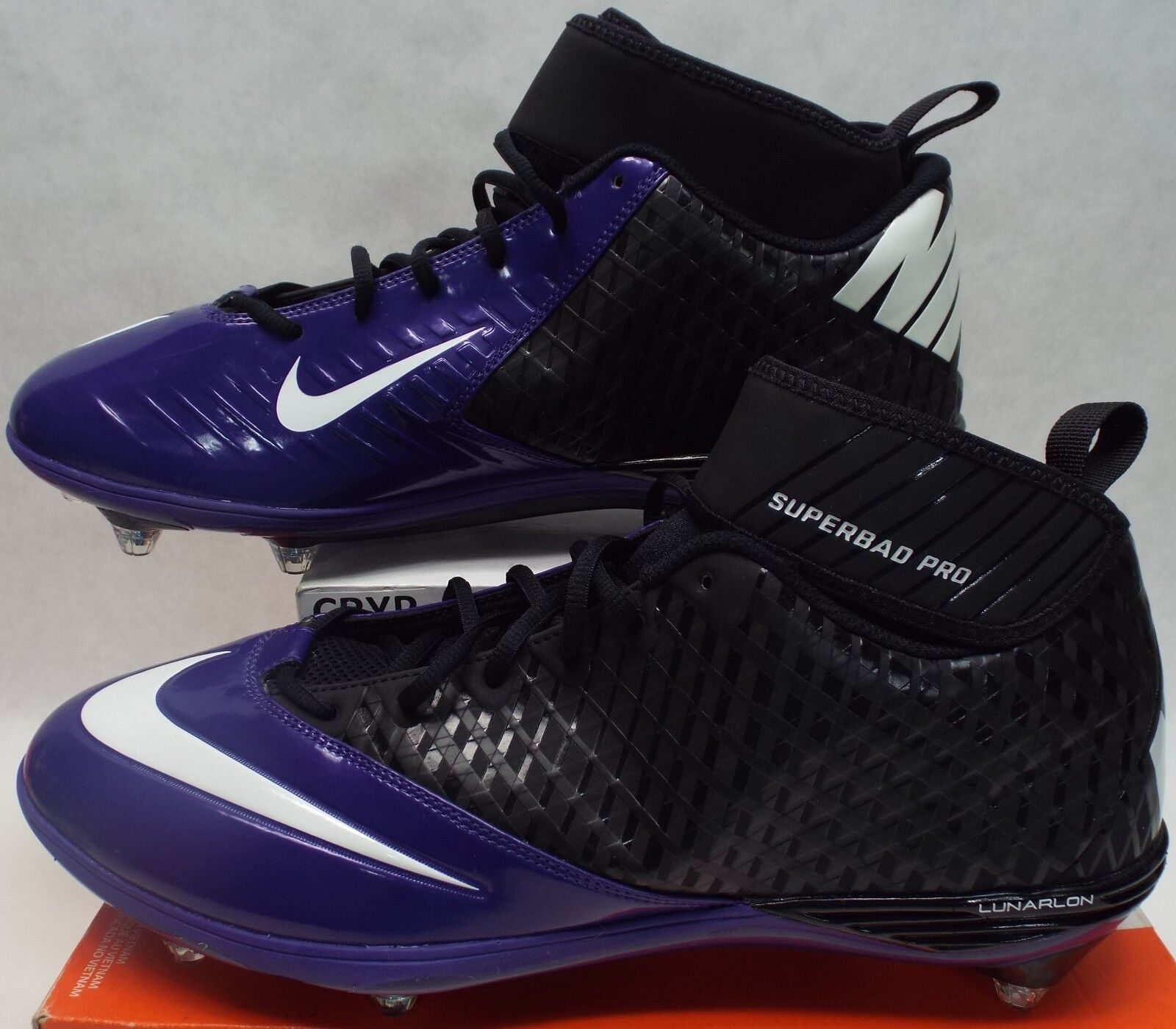 New Superbad homme 14.5 NIKE Lunarlon Superbad New Pro Vikings Cleats chaussures 105 544762-003 d22e5f