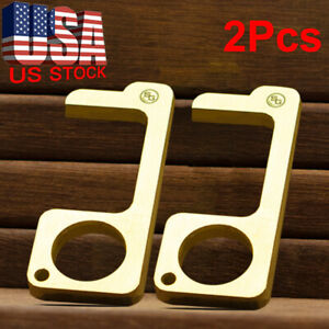 2-Pack-Clean-Key-Door-Opener-Tool-Brass-No-Touch-Anti-Microbial-Germ-Key