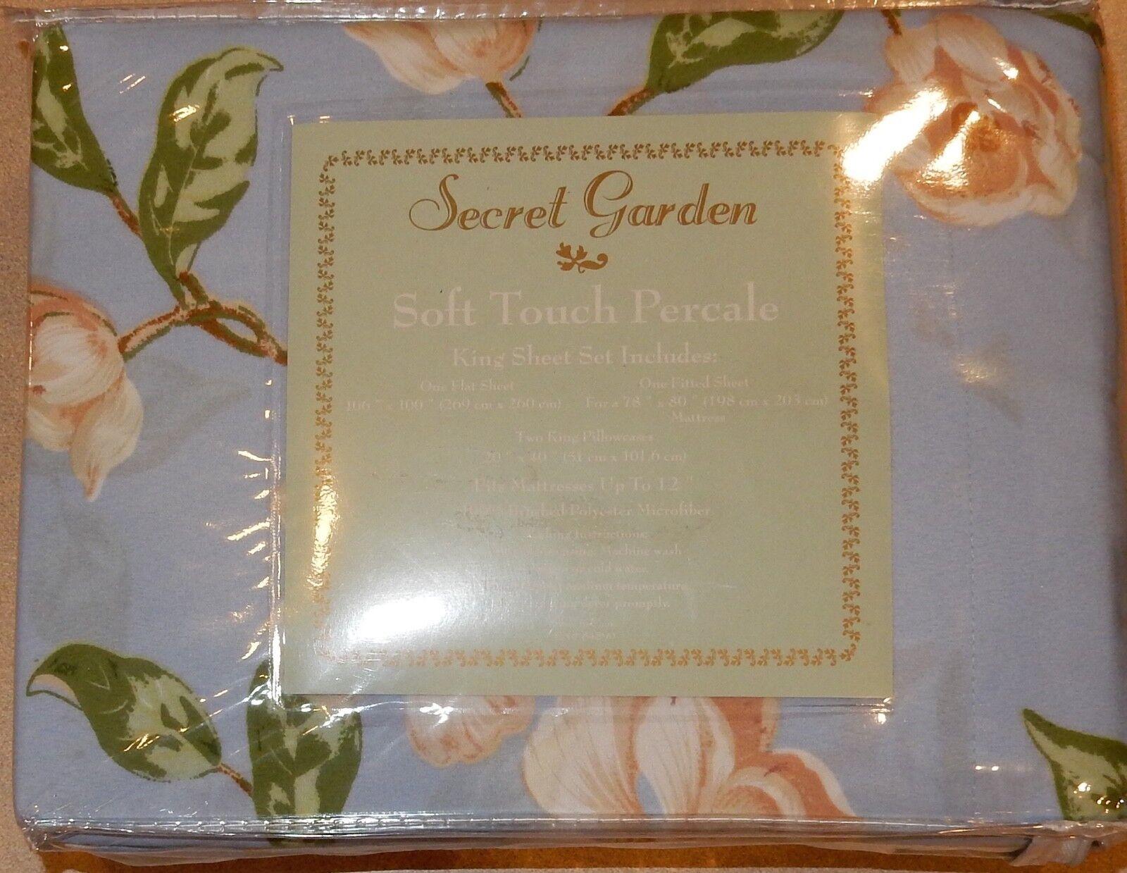 Secret Garden Soft Touch Percale Sheet Set King Größe New Floral