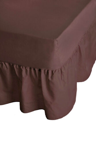 """24/"""" Deep Plain Dyed Non-Iron Percale Cotton King Bed Valance Sheet Chocolate New"""