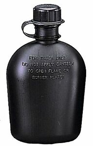Black-Military-Style-1-Quart-Canteen-Plastic-Hiking-One-Qt-Canteen-USA-Made