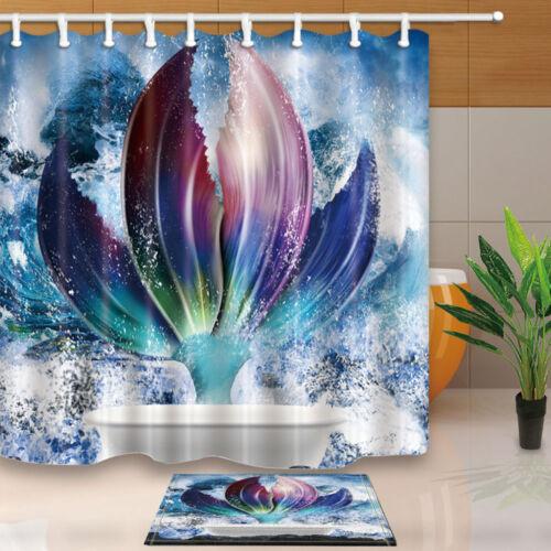 environ 180.34 cm Sirène Belle Queue baignoire salle de bains Tissu Rideau de douche Set 71 in long