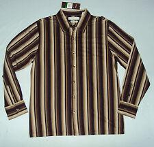 Perry Ellis Mens NWT LS Button Shirt, Large, Brown, Black, Khaki, Gold Striped