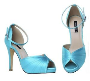 1ff134ead88a1 Details about Women's High Heel Sandals Ankle Strap Satin Evening Party  Prom Wedding Shoes